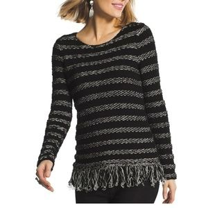 Chico's Black & Gray Stripe Fringed Tunic Sweater